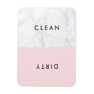 Pink and White Marble Modern Typography Dishwasher Magnet