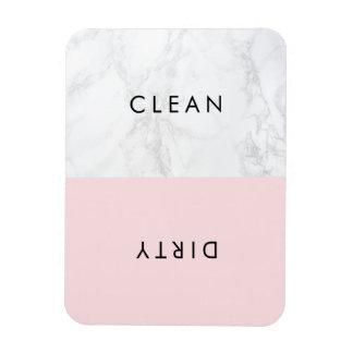 Pink and White Marble Modern Typography Dishwasher Rectangular Photo Magnet