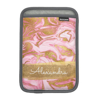 Pink and White Marble with Gold Foil and Glitter iPad Mini Sleeve