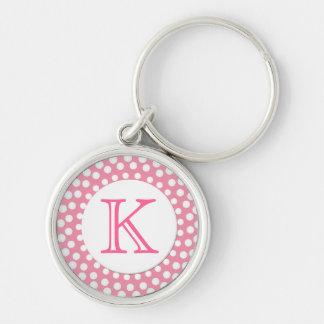 Pink and White Monogram Key Chain