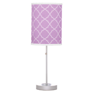 Pink and white moroccan lattice pattern table lamp