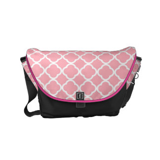 Pink and white Moroccan pattern Courier Bags