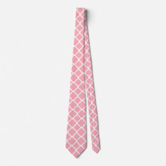 Pink and white Moroccan pattern Tie