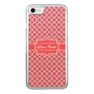 Pink and White Moroccan Quatrefoil N1 Carved iPhone 7 Case