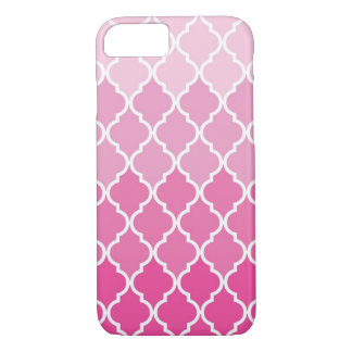 Pink and White Moroccan Quatrefoil Trellis design iPhone 8/7 Case
