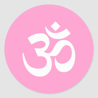 Pink and White Om Symbol Classic Round Sticker