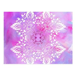 Pink and White Ornate Design Postcard