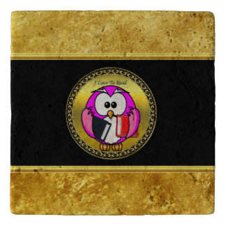 Pink and white owl holding school books to read trivet