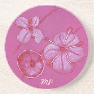 Pink and White Painted Flower Study Drink Coaster