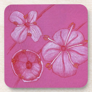 Pink and White Painted Flower Study Drink Coasters
