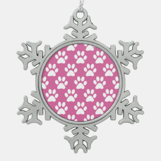 Pink and white paw prints pattern snowflake pewter christmas ornament