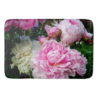 Pink and White Peonies Bath Mat