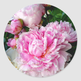 Pink and White Peonies Classic Round Sticker