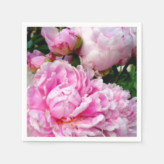 Pink and White Peonies Paper Napkin