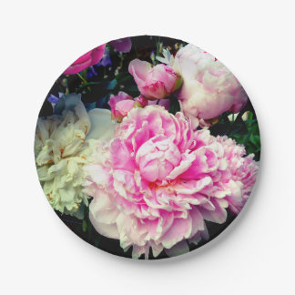 Pink and White Peonies Paper Plate