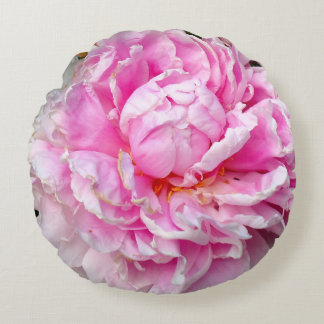 Pink and white Peonies Round Pillow