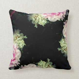 Pink and White Peonies Throw Pillow