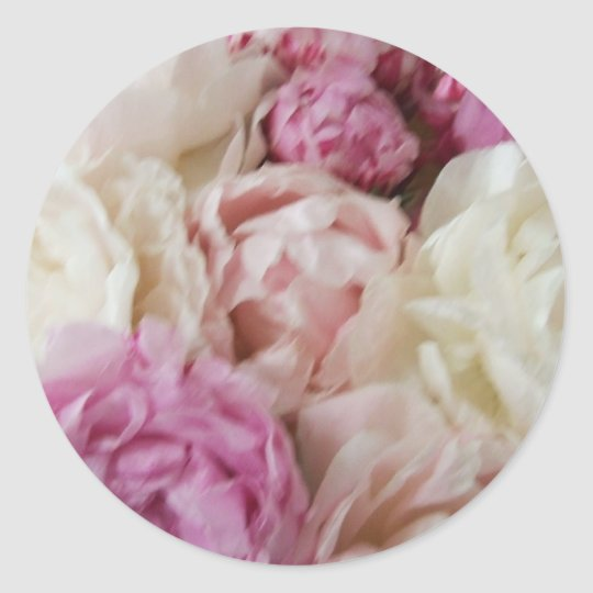 Pink and White Peonies Wedding Stickers