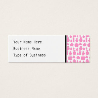 Pink and White Perfume Bottle Pattern. Mini Business Card