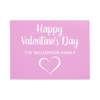 Pink and White Personalized Happy Valentines Day Doormat