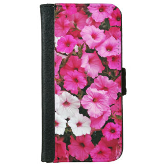 Pink and white petunia flowers iphone wallet case