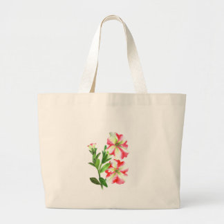 Pink and White Petunias Floral Art Large Tote Bag