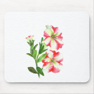Pink and White Petunias Floral Art Mouse Pad