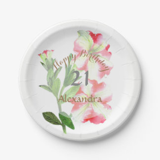 Pink and White Petunias Floral Art Paper Plate