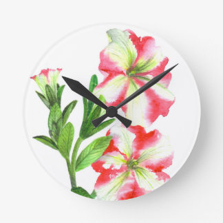 Pink and White Petunias Floral Art Round Clock