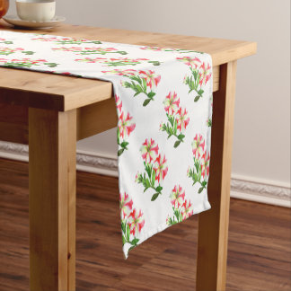 Pink and White Petunias Floral Art Short Table Runner