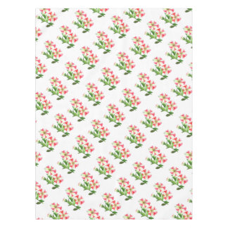 Pink and White Petunias Floral Art Tablecloth