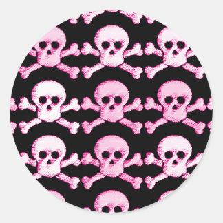 pink and white pirate skull round sticker