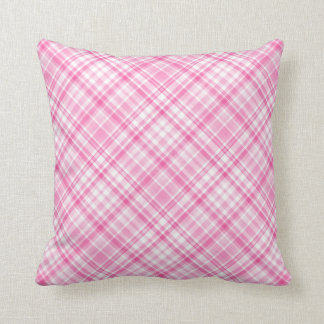 Pink and White Plaid Square Pillow