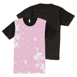 Pink and White Plants All-Over-Print T-Shirt