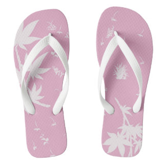 Pink and White Plants Flip Flops