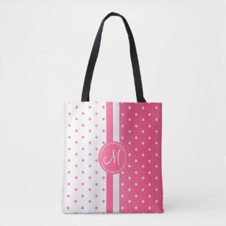 Pink and White Polka Dot Design Tote Bag