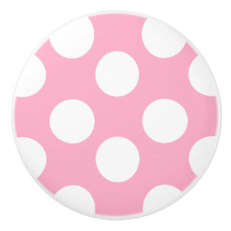 Pink and White Polka Dot Furniture Knob