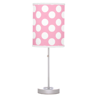 Pink and White Polka Dot Lamp