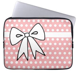 Pink and White Polka Dot Laptop Case