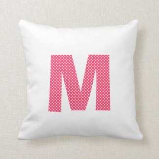 Pink and White Polka Dot Letter M Throw Pillow