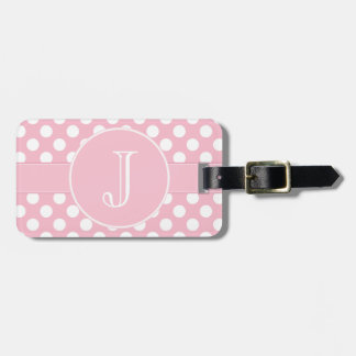 Pink and White Polka-Dot Monogrammed Luggage Tag