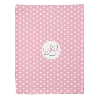 Pink and White Polka Dot Name Monogram Duvet Cover