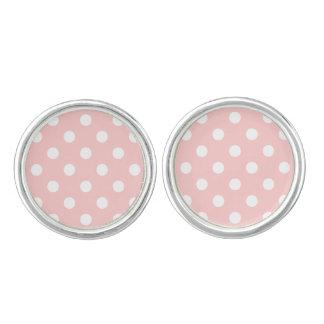 Pink and White Polka Dot Pattern Cufflinks