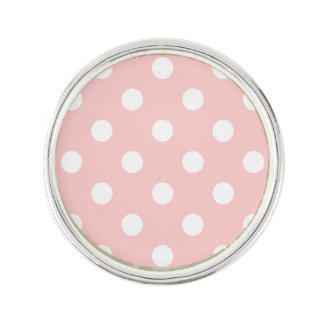 Pink and White Polka Dot Pattern Lapel Pin