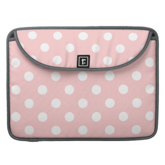 Pink and White Polka Dot Pattern MacBook Pro Sleeves