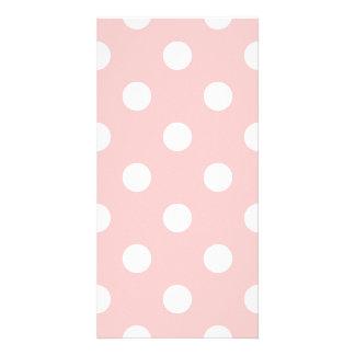 Pink and White Polka Dot Pattern Photo Card