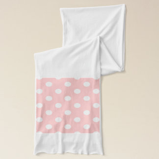 Pink and White Polka Dot Pattern Scarf