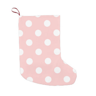 Pink and White Polka Dot Pattern Small Christmas Stocking