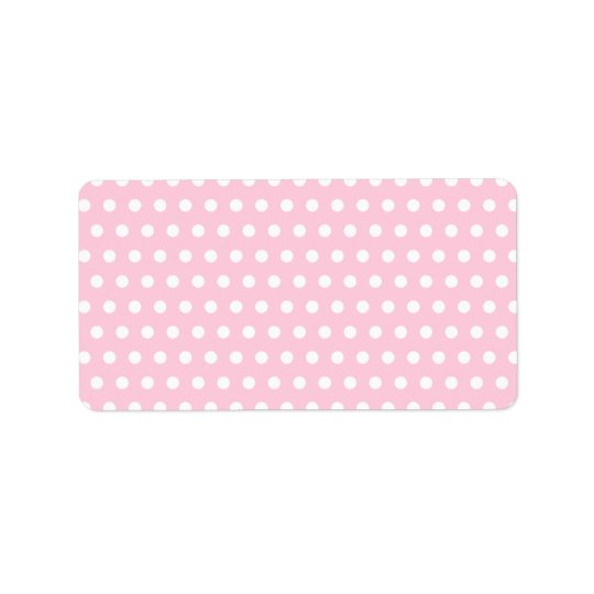 Pink and White Polka Dot Pattern. Spotty. Label