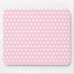 Pink and White Polka Dot Pattern. Spotty. Mousepads